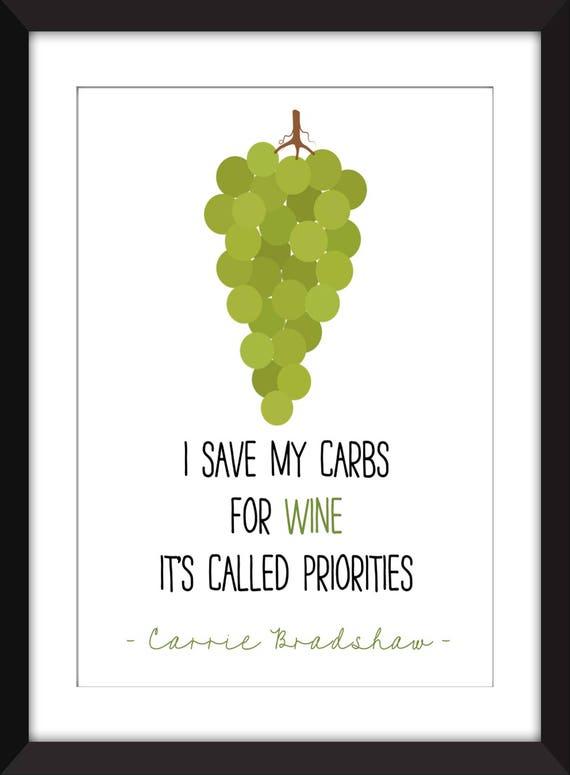 Carrie Bradshaw Spare Ich Meine Kohlenhydrate Für Wein Zitat Rahmen