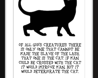 Mark Twain Cat Quote Unframed Print