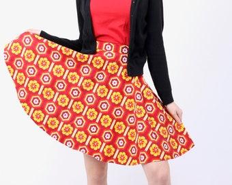 Skirt, Swing Skirt, Circle Skirt, Rockabilly, Vintage Skirt, Dancing Skirt, Red, Floral Print, Full Skirt, 50s skirt, High Waisted Skirt