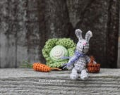 Miniature Crochet Bunny with Basket Eggs Carrot Cabbage, Crochet Doll, 1 12 scale Easter Decor Dollhouse Collectable Tiny Light Grey Rabbit