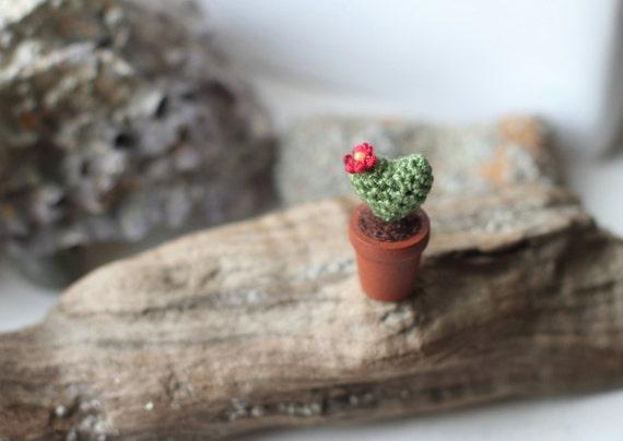 Kaktus Herz Mimiature Häkeln Pflanzen In Holz Topf Etsy