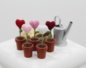 Miniature flowers hearts in the pots, set of five, Mother's day gift, Home Decor, Tiny hearts, crochet art, white, pink, red