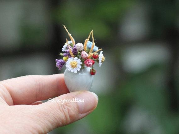 Wilde Blumensstrauß Häkeln Puppenhaus Miniatur Blumenstrauß Etsy