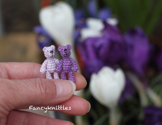 Lila Häkeln Teddybär Puppenhaus Miniatur Spielzeug 1 Zoll Etsy
