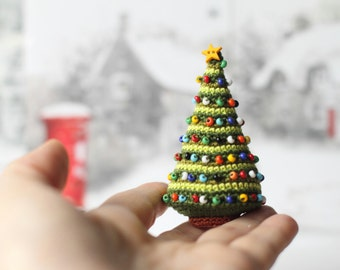 Crocheted Christmas Tree Miniature Home Decor, Winter Holiday Gift for Friend, Relatives,  Christmas Ornament, Stocking Stuffer