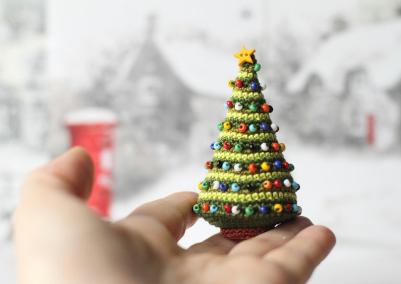 Crocheted Christmas Tree Miniature Home Decor Winter Holiday image 0