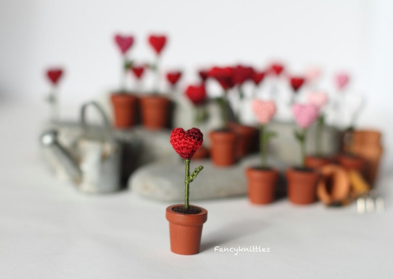 Valentine Gift Heart  One Miniature Crochet Heart in the Pot image 0