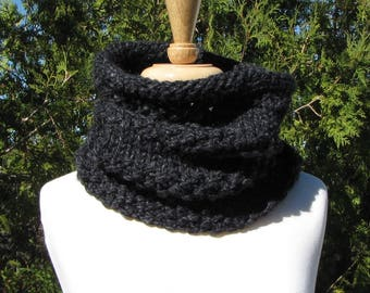 Charcoal Gray Cowl - Chunky Gray Neck Warmer - Soft Wool Blend Cowl - Dark Gray Scarf for Men - Warm Wool Cowl - Great Boyfriend Gift