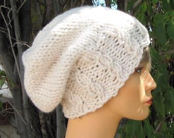 Slouchy Ivory Beanie - Chunky Fisherman Cable Cap - Slouchy Cream Wool Hat  - Soft Wool Beanie - Soft White Hat - Aran Beanie 0b98283bd39