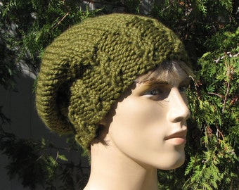 Dark Green Slouchy Beanie - Super Chunky Moss Green Cap - Slouchy Dark  Olive Green Cable Rib Hat - Chunky Green Hat - Gift for Him c5f19109a97d
