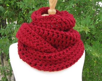 Cranberry Red Infinity Scarf - Berry Red Wool Cowl - Super Warm Red Circle Scarf - Long, Thick, and Warm - Gift for Her