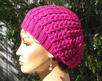 821d44a6fb210 Pink Slouchy Beret - Lacy Hot Pink Hat - Soft Cabled Acrylic Beret - Girly  Sparkly Hot Pink - Feminine Soft Pink Beret - Gift for Her