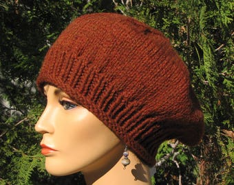 36062e3d2fa99 Slouchy Rust Orange Beret - Thick Warm Orange Wool Cap - Slouchy Orange Tam  - Dark Orange Beret - Slouchy Rust Orange Hat