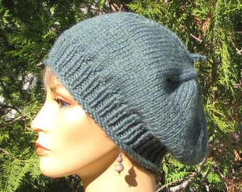 Slouchy Blue Green Beret - Chunky Teal Wool Cap - Slouchy Green Blue Wool Tam - Soft Teal Blue Hat - Thick Warm Wool Beret