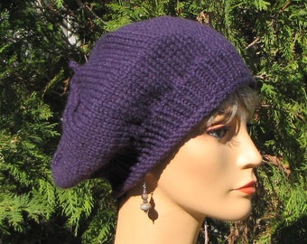 Perfectly Purple Beret - Thick Purple Wool Tam - Slouchy Purple Tam -  Slouchy Purple Wool Hat - Aubergine Hat - Gift for Her 4ac8400594a