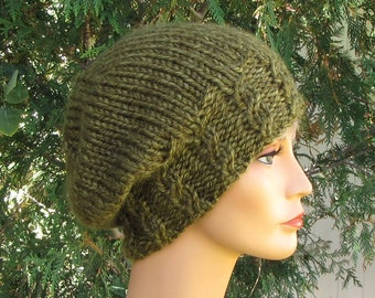 d4860159c9272 Dark Olive Slouchy Beanie - Soft Chunky Green Cap - Super Slouchy Olive  Green Cable Rib Hat - Treehugger Hat - Super Soft Green Beanie