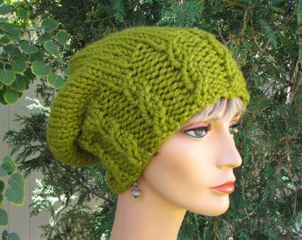 56d681161e7c6 Lime Green Slouchy Wool Beanie - Super Chunky Cabled Green Cap - Slouchy  Soft Spring Green Wool Beanie - Warm Lime Green Beanie