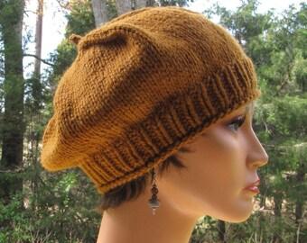 babdcf3d481e0 Amber Brown Beret - Thick Warm Brown Wool Cap - Slouchy Butterscotch Tam -  Soft Gold Wool Beret - Warm Amber Cap