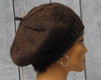 Chunky Walnut Brown Slouchy Beret - Thick Warm Wool Knit Cap - Perfect  Brown Beret - Slouchy Knit Tam - Soft Slouchy Wool Hat 10e254c18706