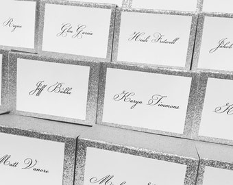 Silver Glitter Backed White Printed Placecard