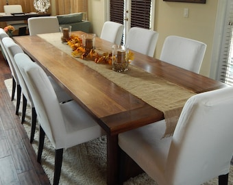 Antique Walnut Wood Dining Table with Trestle Legs and Cross Beam