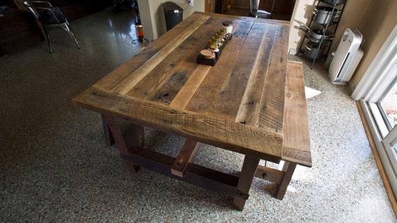 Solid Oak Reclaimed Barn Wood Dining Room Table Etsy