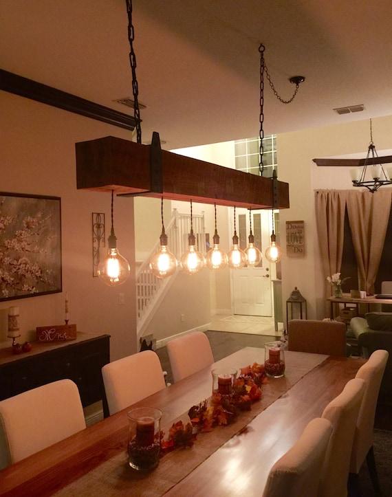 Luces de vigas de madera reciclada candelabro con globo Edison | Etsy