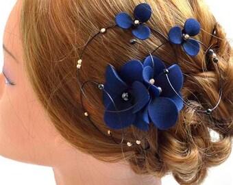 Floral headpiece, Navy and gold fascinator, Bridal hair clip, Wedding fascinator, Wedding hair accessories, Hair pin