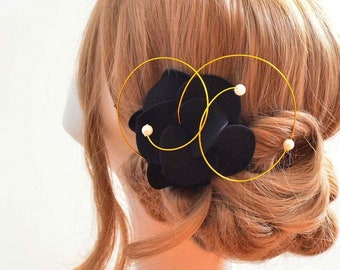 Black fascinator Navy blue fascinator Bridal headpiece Black flower brooch Flower hair pin Wedding hair flower  wedding hair accessories