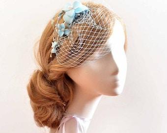 Pale blue birdcage veil headband Birdcage veil headband Bridal veil fascinator Bridal headpiece Head piece  Flower headpiece