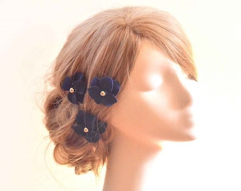 Bridal hair pins set of 3 navy blue hair flowers Flower hair pin Bridesmaid hair flowers Flower pins Navy flowers Wedding hair accessories