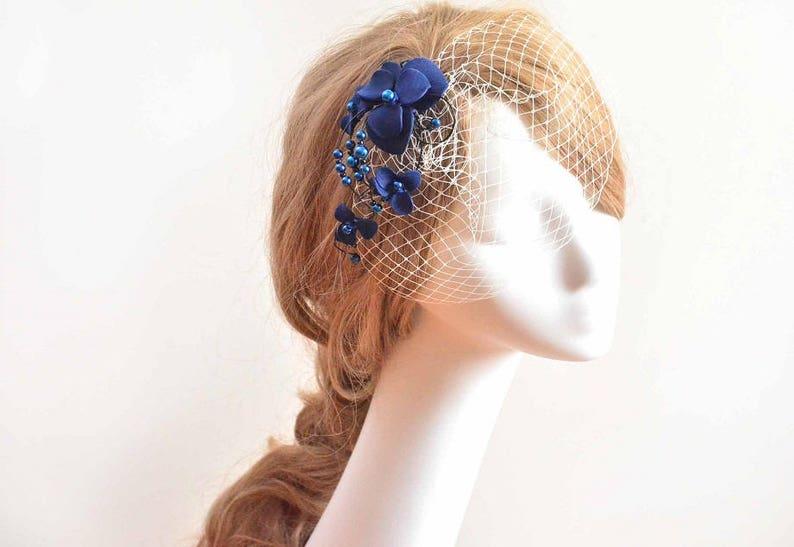 935e5abd8c2df Navy blue and ivory birdcage veil Veil headband Blue