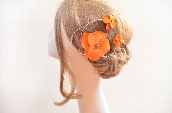Orange fascinator Orange hair flower Flower hair clip Modern  155d7039d35