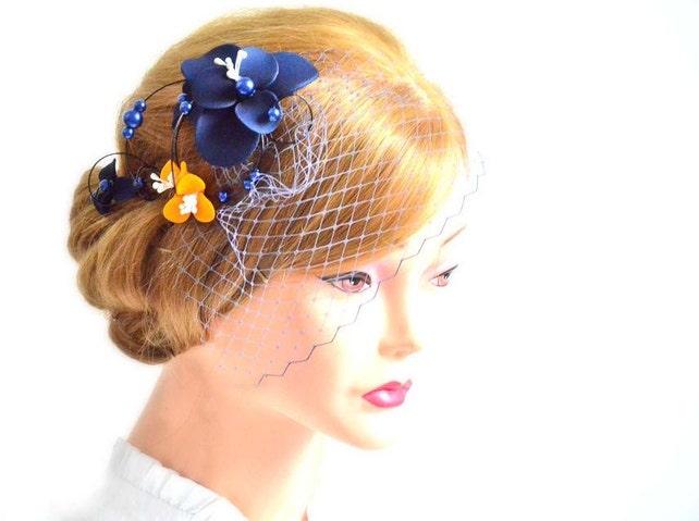 294a34419654e Navy blue birdcage veil headpiece Birdcage veil headband Bridal veil  fascinator Bridal head piece White fascinator Flower headpiece
