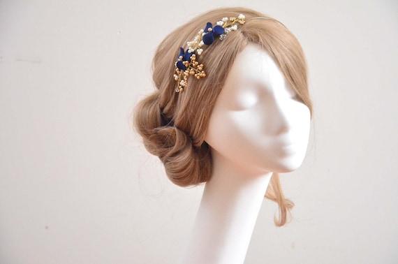 Keine Verkaufssteuer Bestbewerteter Rabatt einzigartiges Design Navy blaues und goldenes Stirnband, Irish Dance Stirnband Floral Stirnband,  Bridesmaids Headpiece, Navy blue Headpiece, Pearl Headpiece