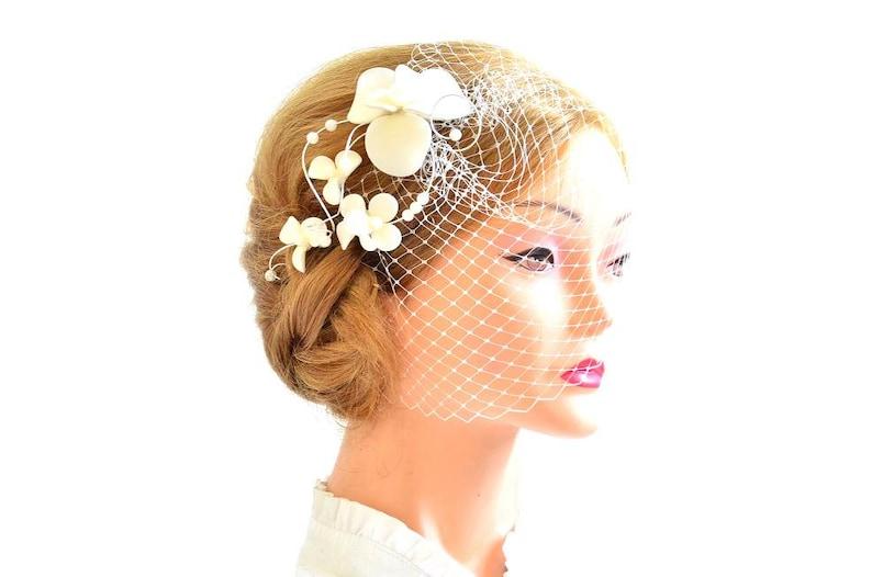 4b3918f65be38 Birdcage veil headband Bridal veil fascinator Simple
