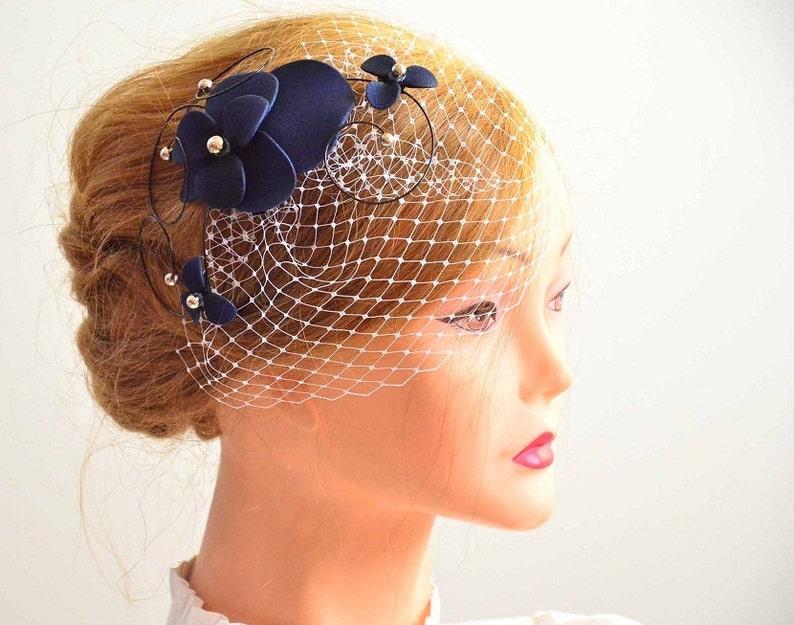 6dca491ca22ec Navy blue birdcage veil with fascinator Birdcage veil in navy