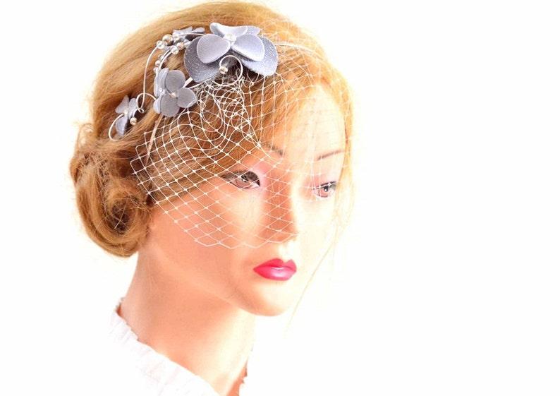 0deb0a7d1ac60 Gray and silver fascinator veil Birdcage veil clip Bridal veil