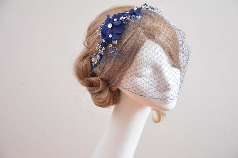 8192b76962643 Navy blue bandeau birdcage veil Birdcage veil headband Blue