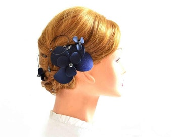 Navy blue fascinator, Navy blue headpiece,  Unique fascinator, Bridal headpiece, Ivory fascinator, Flower headpiece, Wedding hair comb,