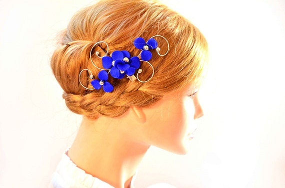 Royal blue headpiece Elegant hair piece Royal