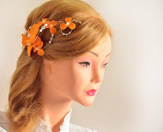 Orange floral hair clip Orange feascinator Orange headpiece  9fd4d13c7d9