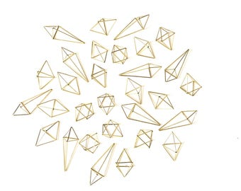 """Himelli ornaments - Set of 30 Brass/Gold Modern Geometric Ornaments - includes 3 different sizes  - 3.5"""" to 5.5"""""""