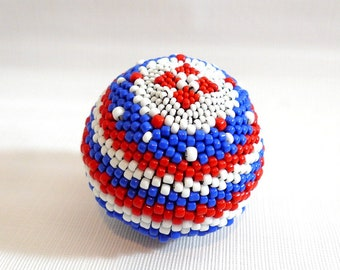 Handmade Striped RED WHITE & BLUE Beaded Ball Sphere July 4th Patriotic