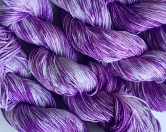 Cotton handdyed yarn. DK weight cotton yarn, handprinted purple mercerized cotton yarn, 140 yards. 50 grams
