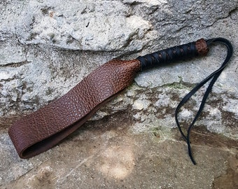 """BDSM Water Buffalo Leather Spanking Discipline Paddle Strap - 15"""" x 2"""" Brown w Blk or Brn lacing kinky fetish strop impact flogger adult toy"""