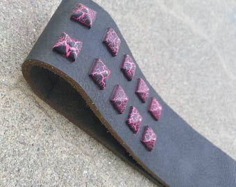 """BDSM Spanking Paddle Black Leather Discipline Strap with Pink Purple Pyramid Rivets- """"The Beautiful Beast"""""""