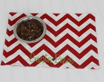 Personalized Pet Food Mat - Pet Placemat for your Dog or Cat - Holiday Pet Food Mat available in ALL SIZES