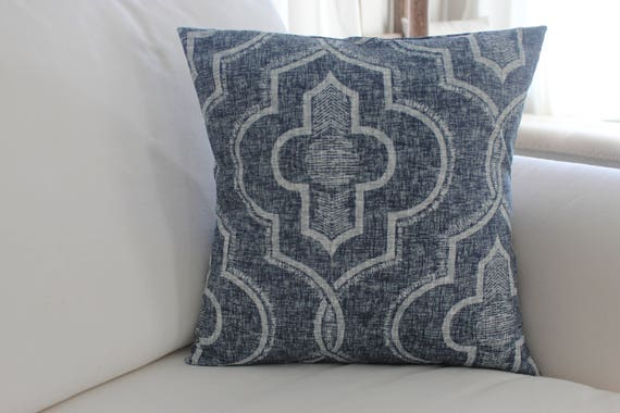 Vintage Indigo Pillow Cover Faded Damask Newport Indigo And Etsy Awesome Newport Pillow Covers