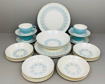 Vintage MCM Taylor Smith & Taylor, Adagio Pattern, Dinnerware Set  - 4 Dining Guests, Serving Bowl